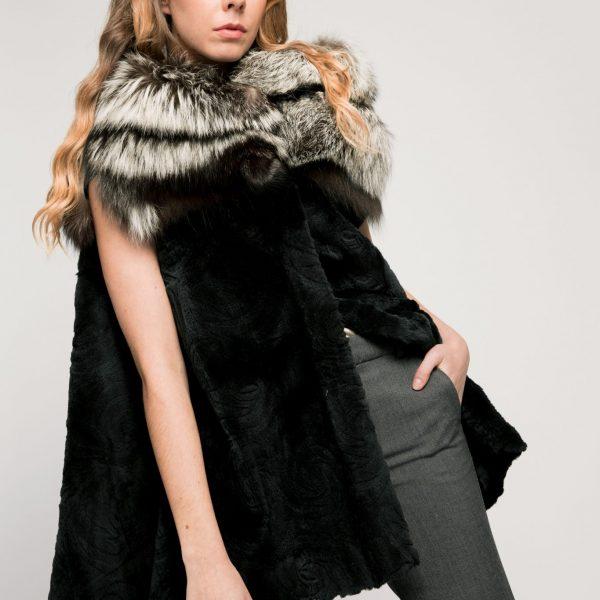Capa de piel para mujer, visón de zorro negro